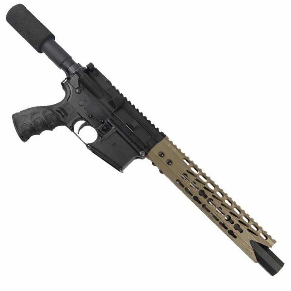 """AR 15 Pistol Upper 5.56 10"""" Custom KeyMod Octagonal """"SHARK"""" version 3 on lower receiver"""