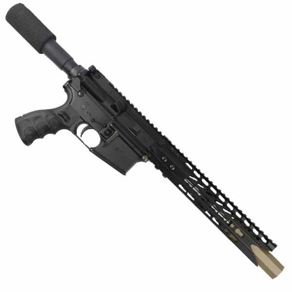 """AR 15 Pistol Upper 5.56 10"""" Custom KeyMod Octagonal """"SHARK"""" version 2 on lower receiver"""