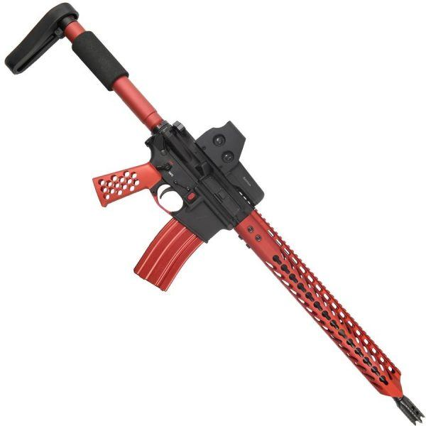 AR15 5.56 Custom Warhead Upper Receiver In Red