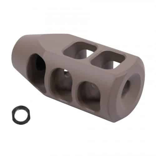 LR308 AR-10 300 Blackout Big Tank Style Muzzle Brake in Flat Dark Earth FDE
