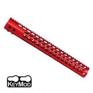 AR15 15 Inch KeyMod Free Float Handguard In Red
