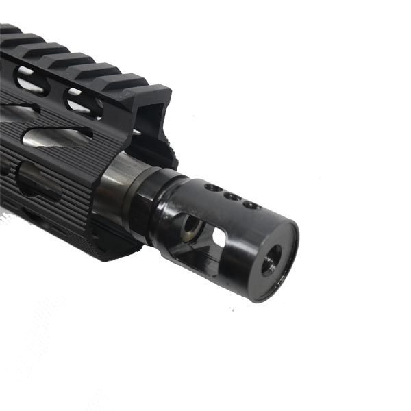 "AR15 Mini Compensator Muzzle Brake Device in Steel installed with 15"" handguard"