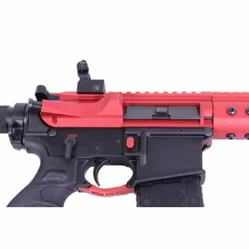 AR15 Extended Trigger Guard in Red Mounted on Lower