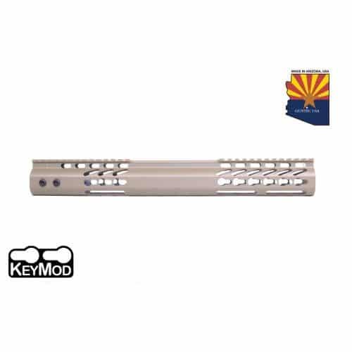 """AR15 Slick Side 15"""" Free Float Keymod Handguard In FDE"""