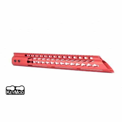 "AR15 Slant Nose 15"" KeyMod Free Flat handguard In Red"