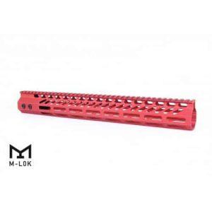 "AR-15 15"" M-LOK Octagonal Free Flat Handguard In red"