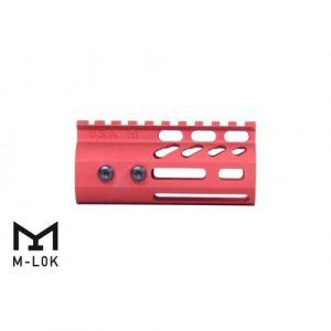 "AR15 4"" Ultralight M-LOK Free Float Handguard Red side view"