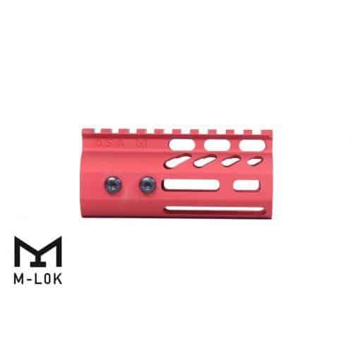 "AR15 4"" Ultralight M-LOK Free Float Handguard Red side view"