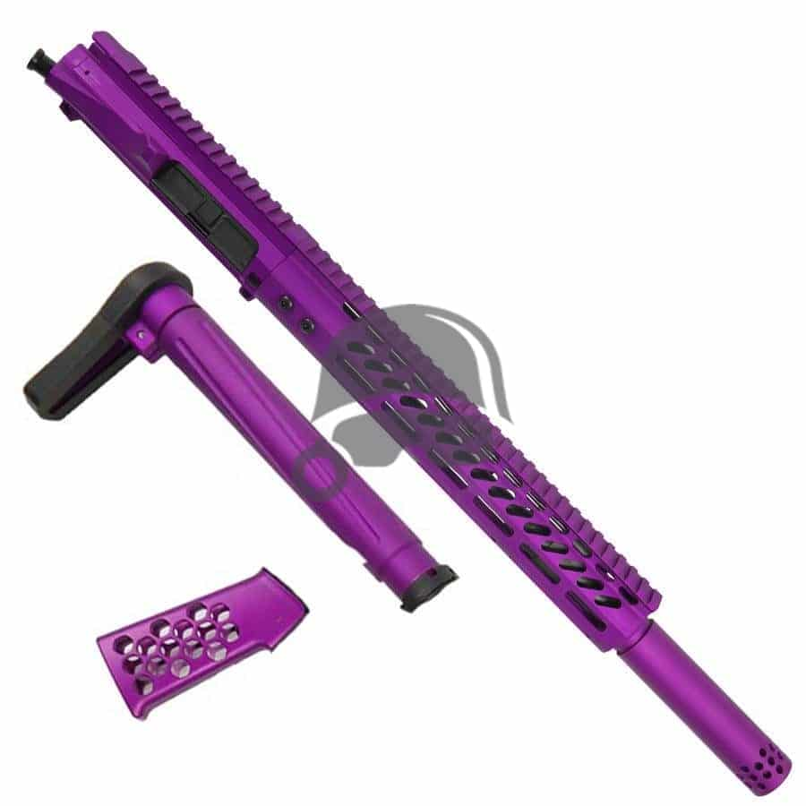 AR-15 Complete Upper Assembly with Matching Stock and Grip (Anodized Purple)