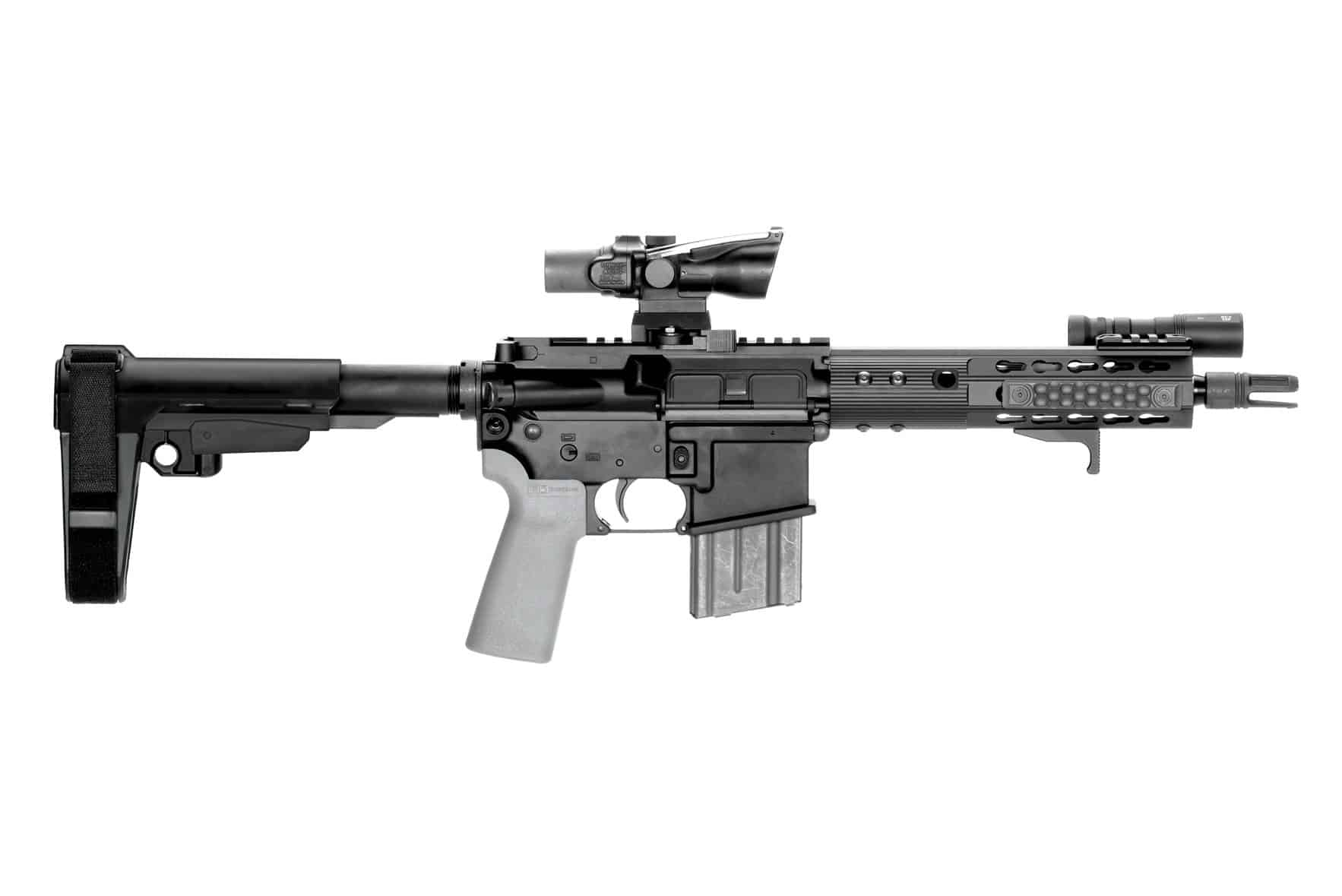 AR15 SB Tactical Mil-Spec Tube Stabilizing Brace SBA3 Fully extended on Pistol