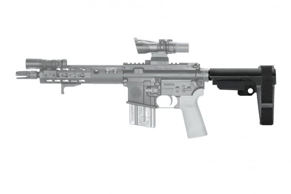 AR15 SB Tactical Mil-Spec Tube Stabilizing Brace SBA3 Closed on Pistol