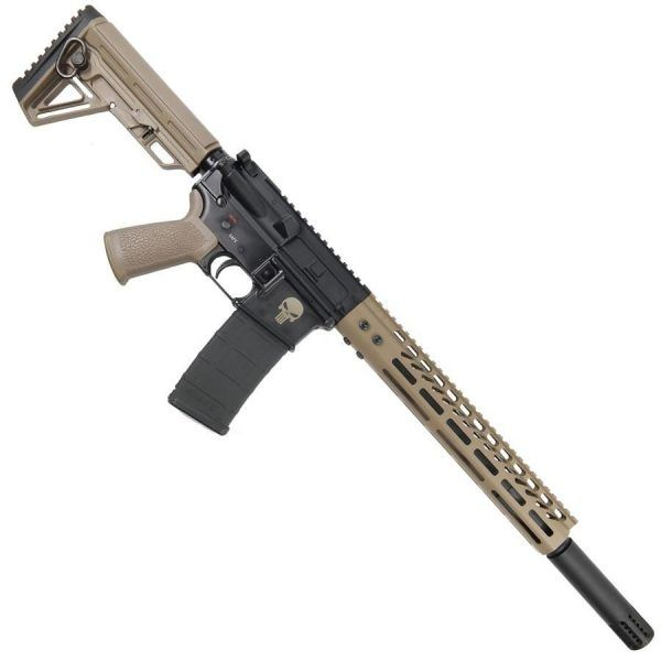 AR15 556 16 Inch Upper Receiver With 12 Inch FDE Handguard And Fake Suppressor