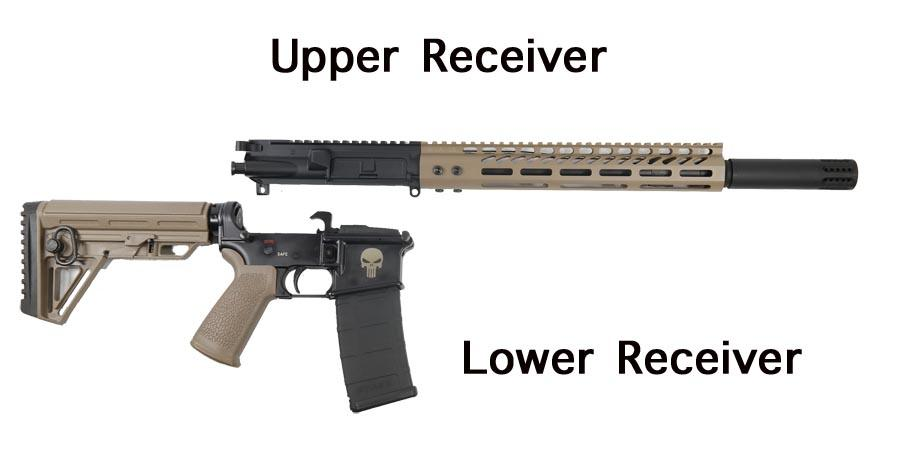 AR-15 Split upper and lower labeled