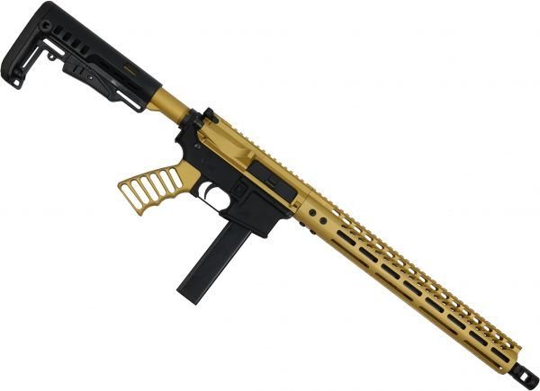 AR-15 9MM PCC Upper Receiver in Anodized Gold Finish M-LOK complete Rifle