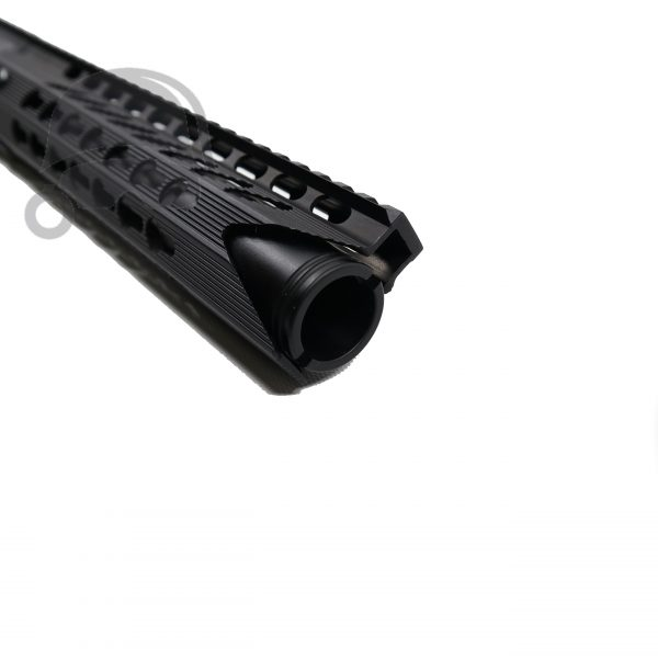 "AR-15 Pistol Upper with 10"" Keymod Shark Handguard with Pig Cone 5.56 close up"