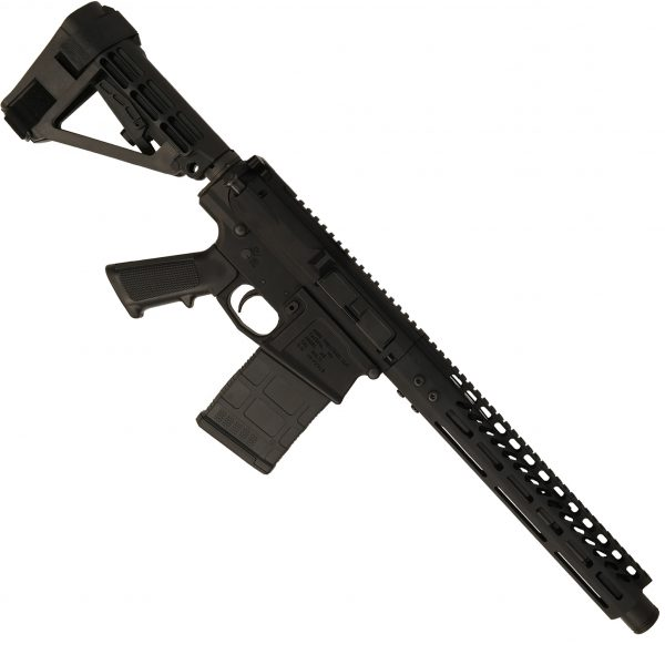 AR-308 LR308 .308 caliber Complete Pistol Upper Receiver RIP Series in Black mounted on AR308 pistol lower