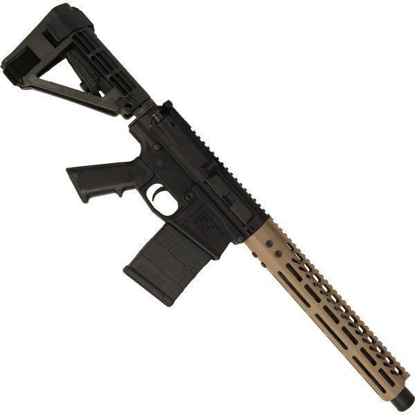AR-308 LR308 .308 caliber Complete Pistol Upper Receiver RIP Series in FDE mounted on AR308 pistol lower