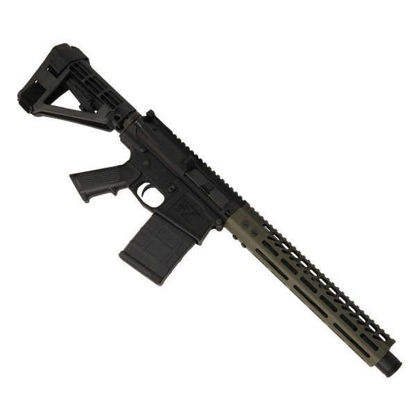 AR-308 LR308 .308 caliber Complete Pistol Upper Receiver RIP Series in OD Green mounted on AR308 pistol lower