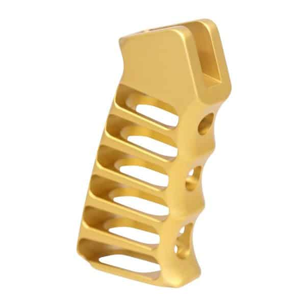 AR Skeletonized gold pistol grip in aluminum
