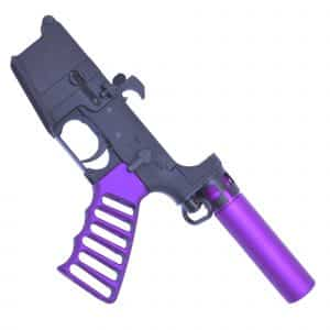 AR-15 Purple Lower Receiver with mini pistol buffer tube and skeletonize grip