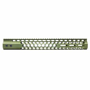 """15"""" Honeycomb Series M-LOK Free Floating Handguard in Anodized Green"""