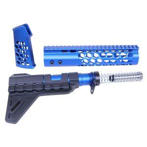 AR-15 Anodized Blue Honeycomb Pistol Furniture Set
