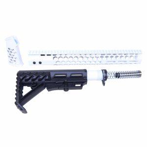 AR-15 Arctic White Honeycomb Pistol Furniture Set