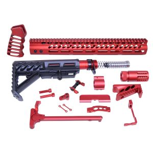 AR-15 Red Anodized Full Rifle Parts Kit