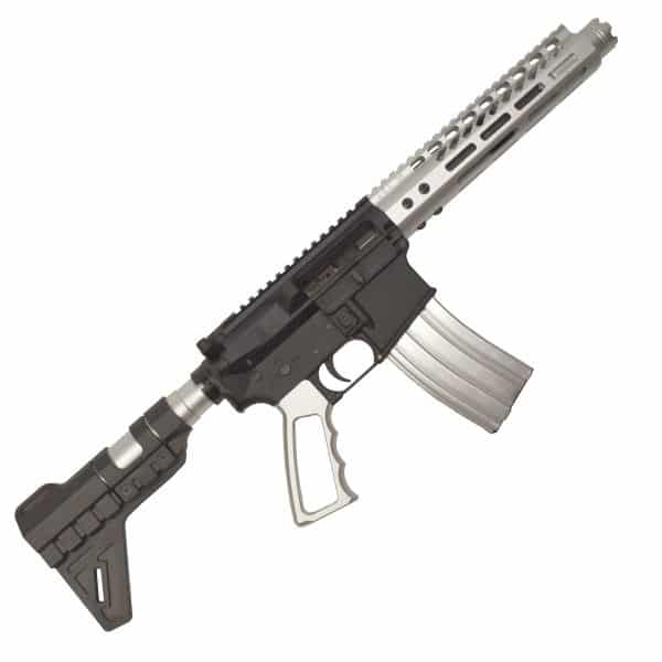 The Raider AR-15 Pistol Two Tone Black and Silver Clear Anodize in 5.56