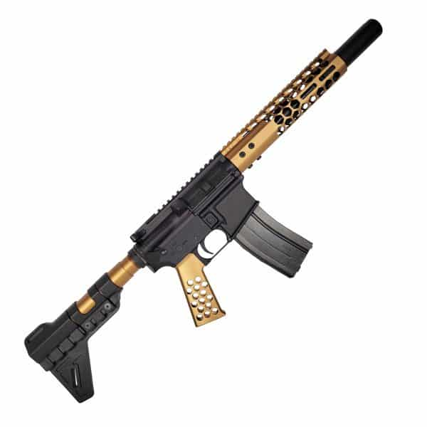 The Bulldog AR-15 Pistol Two Tone Black and Burnt Bronze Anodized in 5.56